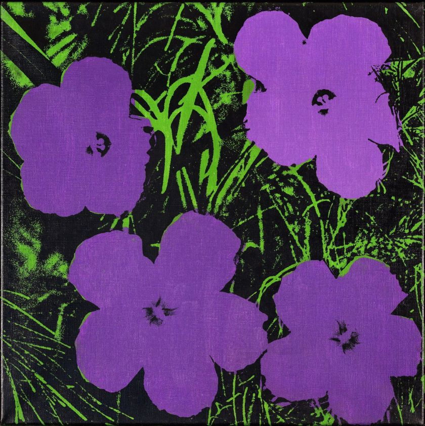 purple flowers warhol