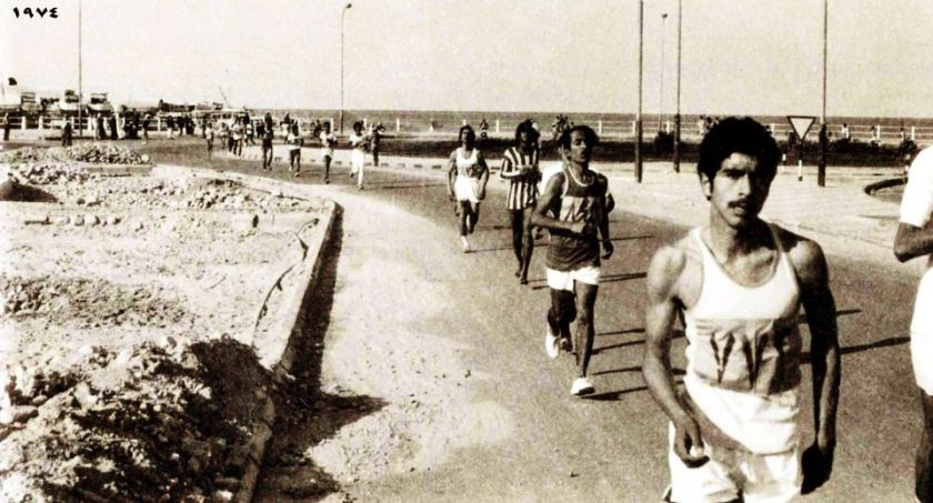 Race on the Corniche in Doha, 1974.