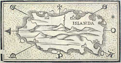 """Islanda"", a map of Iceland by Benedetto Bordone in 1547, courtesy of Wikimedia Commons."