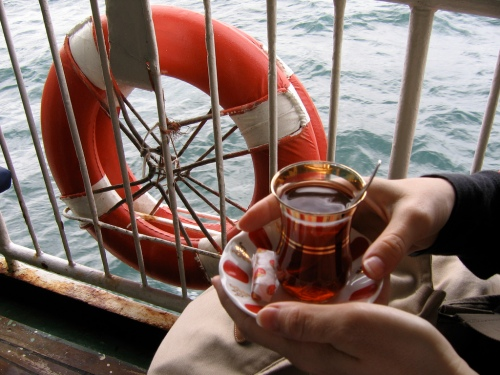 Tea on the Ferry across the Bosphorus, taken in 2006 (!)