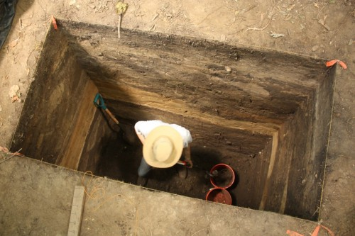 This 2x1 was excavated to a depth of 3 meters.
