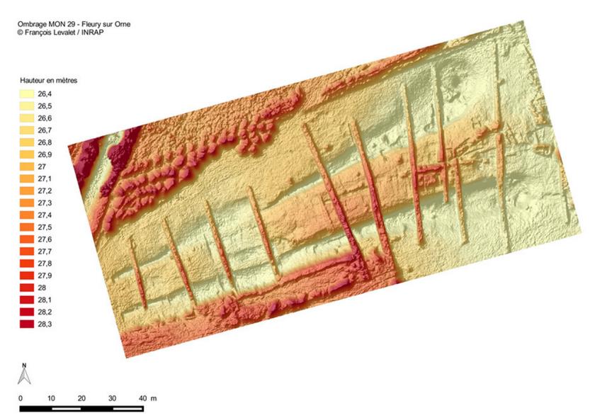 Modele Numerique de Terrain d'un chantier archéologique à Fleury-sur-Orne (Calvados-FR).