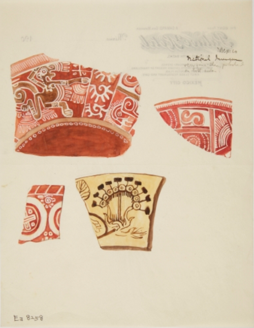 Watercolour showing three fragments of red pottery with designs incLuding a running dragon-like figure in white, and one fragment of buff pottery with design in brown. National Museum of Mexico City. (Bristol Museums)